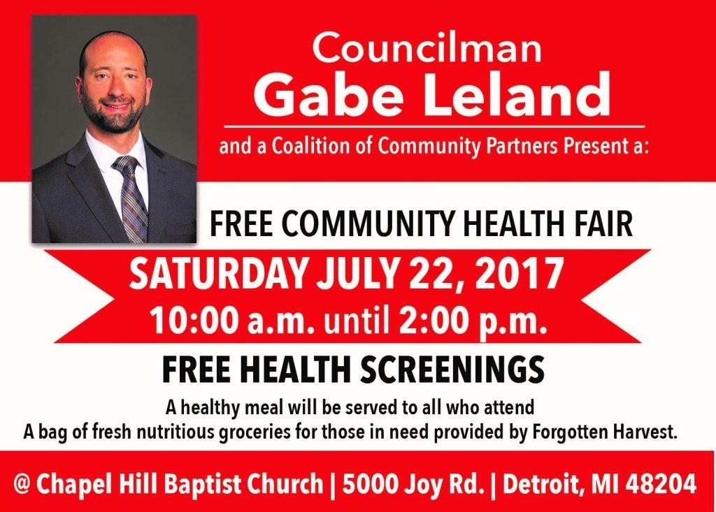 Public Free Health Fair in Detroit- July 22