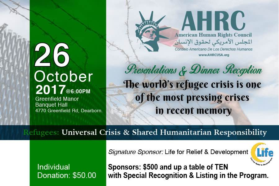 Refugees: Universal Crisis, Shared Humanitarian Responsibility Dinner Reception: